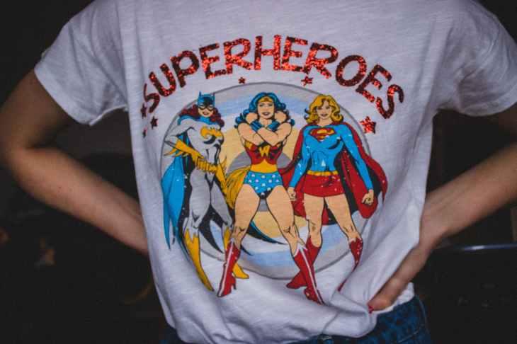 A DC fandom tee shirt for women.