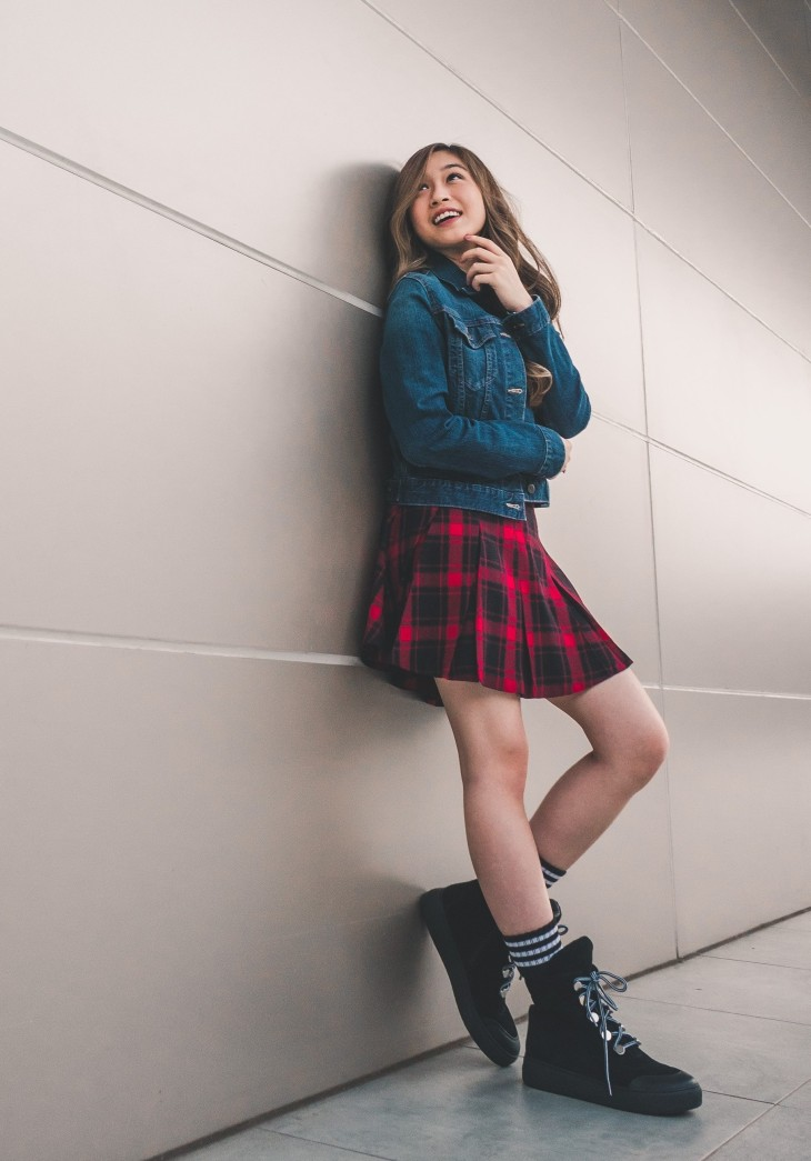 Grunge fashion with plaids and doc martens.