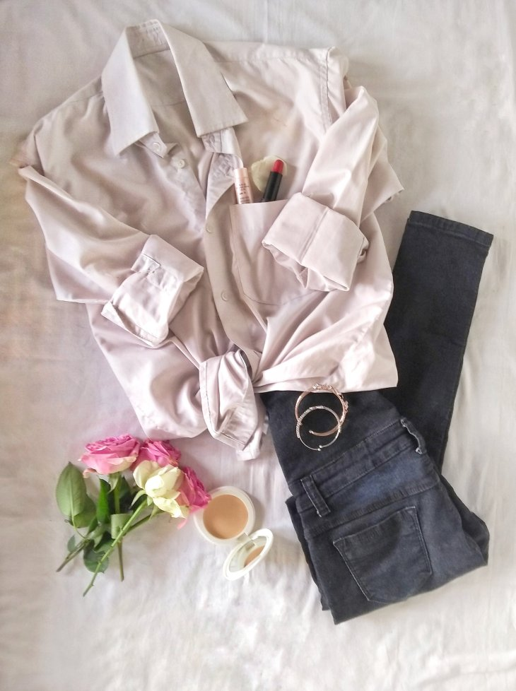 An outfit flatlay consisting work casual outfit.