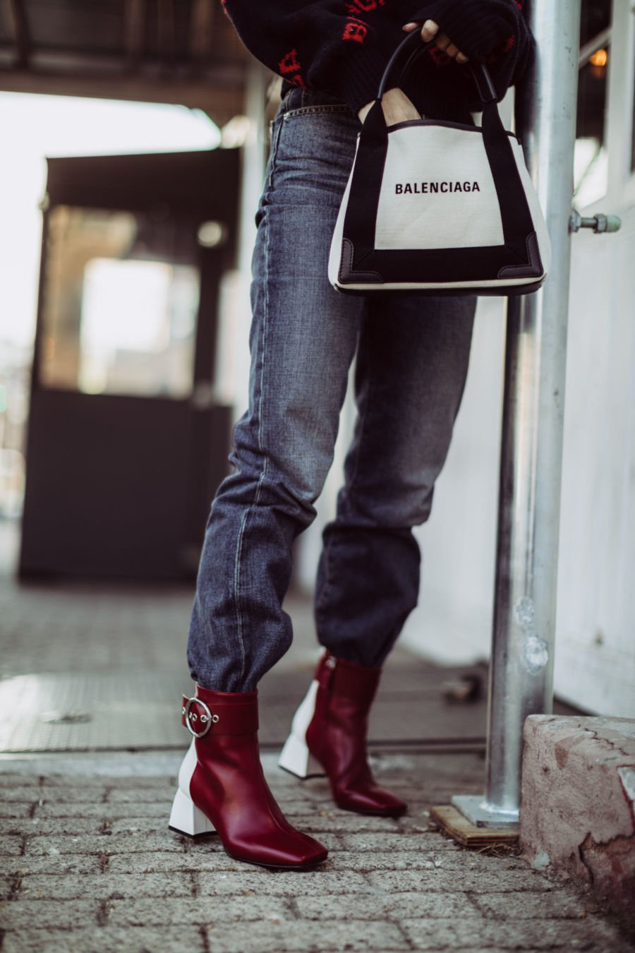 Two tone maroon and white fall square toed boots