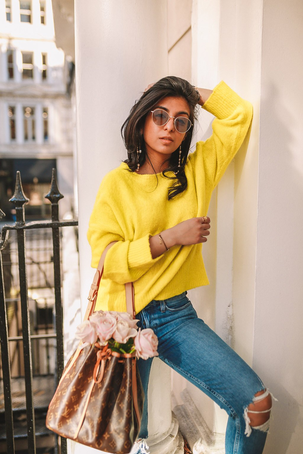 A bright yellow neon sweater to pair this season's trend.