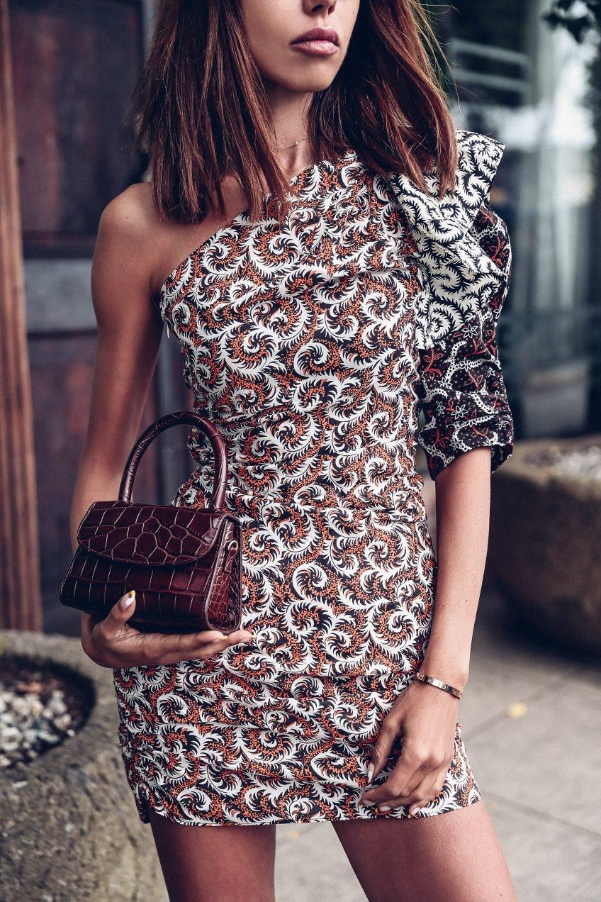Chocolate brown Croc embossed leather bag