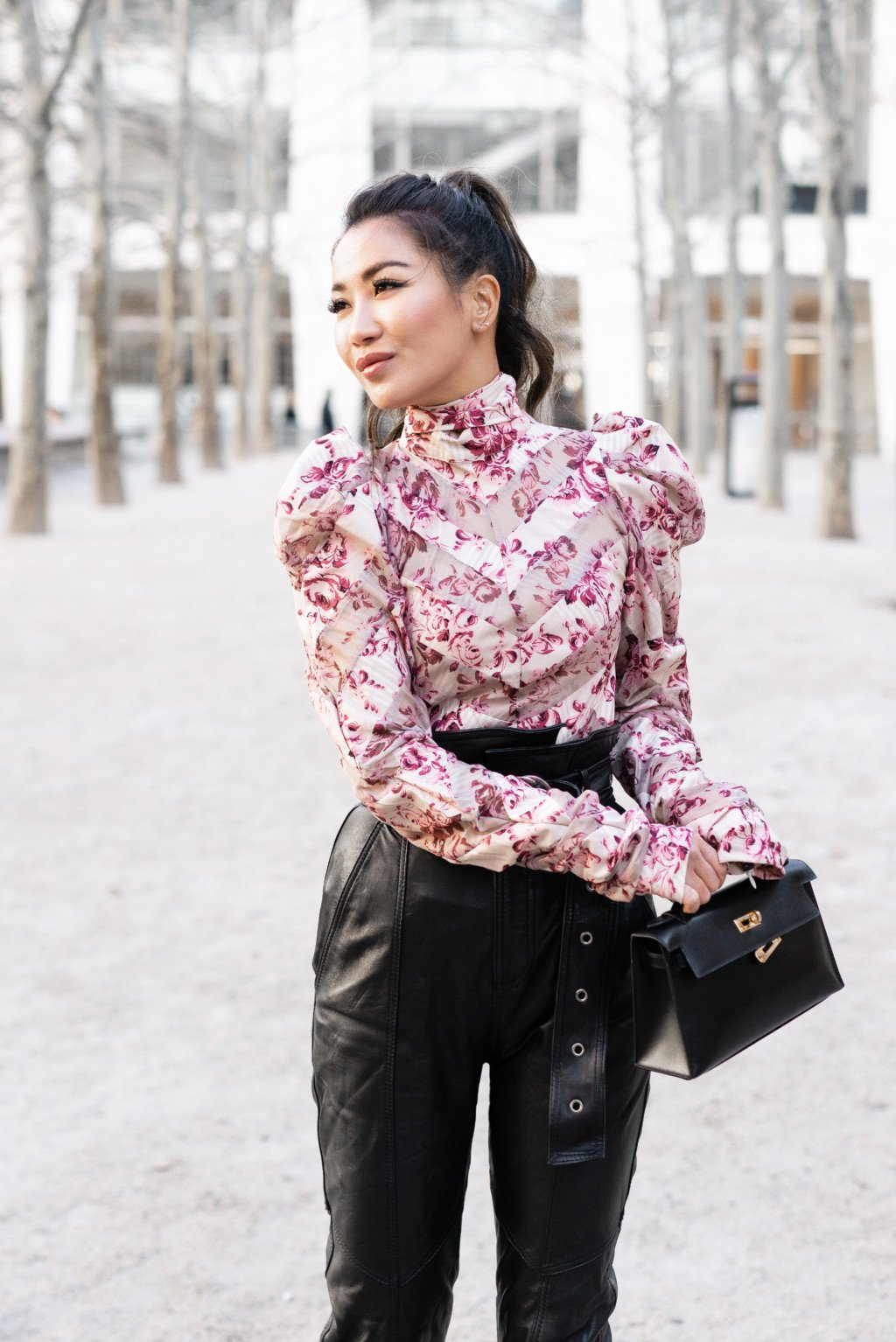 Pink floral turtle neck blouse with statement sleeves