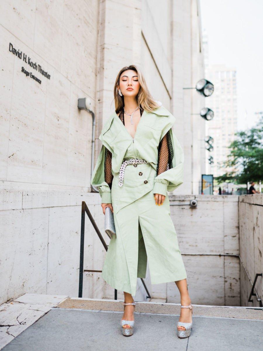 Pistachio green cut out jumpsuit